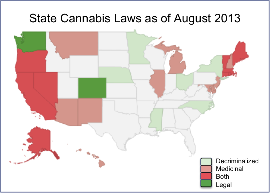 National US Family Law Cannabis Alliance FLCA - Us map on weed laws